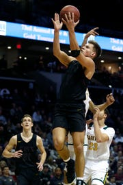 Logan-Rogersville's Luke Vandersnick goes up for a field goal on the Parkview Vikings in the championship Blue Division game during the 2018 Blue and Gold Tournament at JQH Arena on Saturday, Dec. 29, 2018.