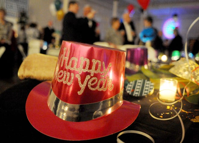 """Party favors adorn a table at the """"Uncorked"""" New Year's Eve gala held at Mary Baldwin College on Wednesday, Dec. 31, 2008."""