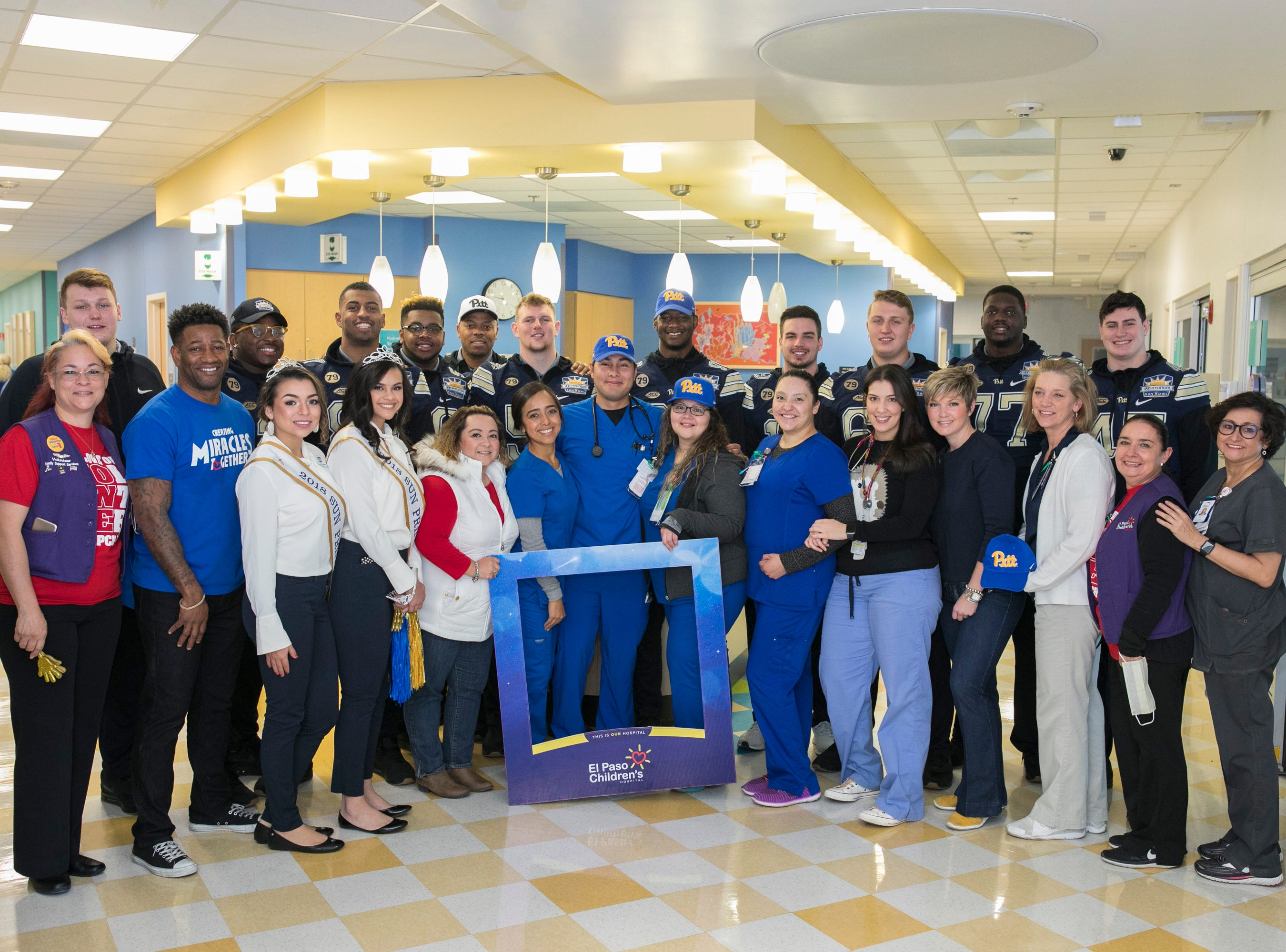 The Pittsburgh Panthers football team visits the El Paso Children's Hospital, Sunday, December 30, 2018, in El Paso, TX. Photo by Ivan Pierre Aguirre/Sun Bowl Association