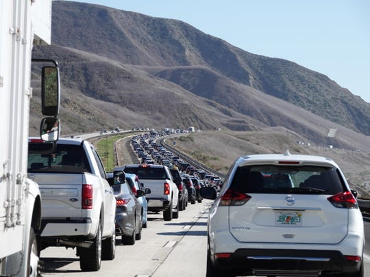 Traffic remained slow on southbound Highway 101 north of Ventura Sunday afternoon following a fatal accident earlier that closed the freeway for hours.