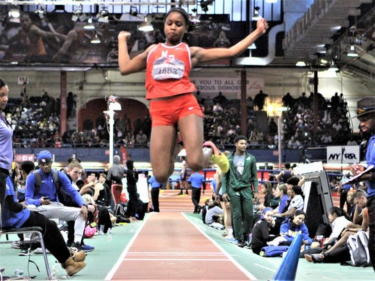 North Rockland's Nadia Saunders competes at 2018 Marine Corps girls long jump. She topped 18 feet for the win.