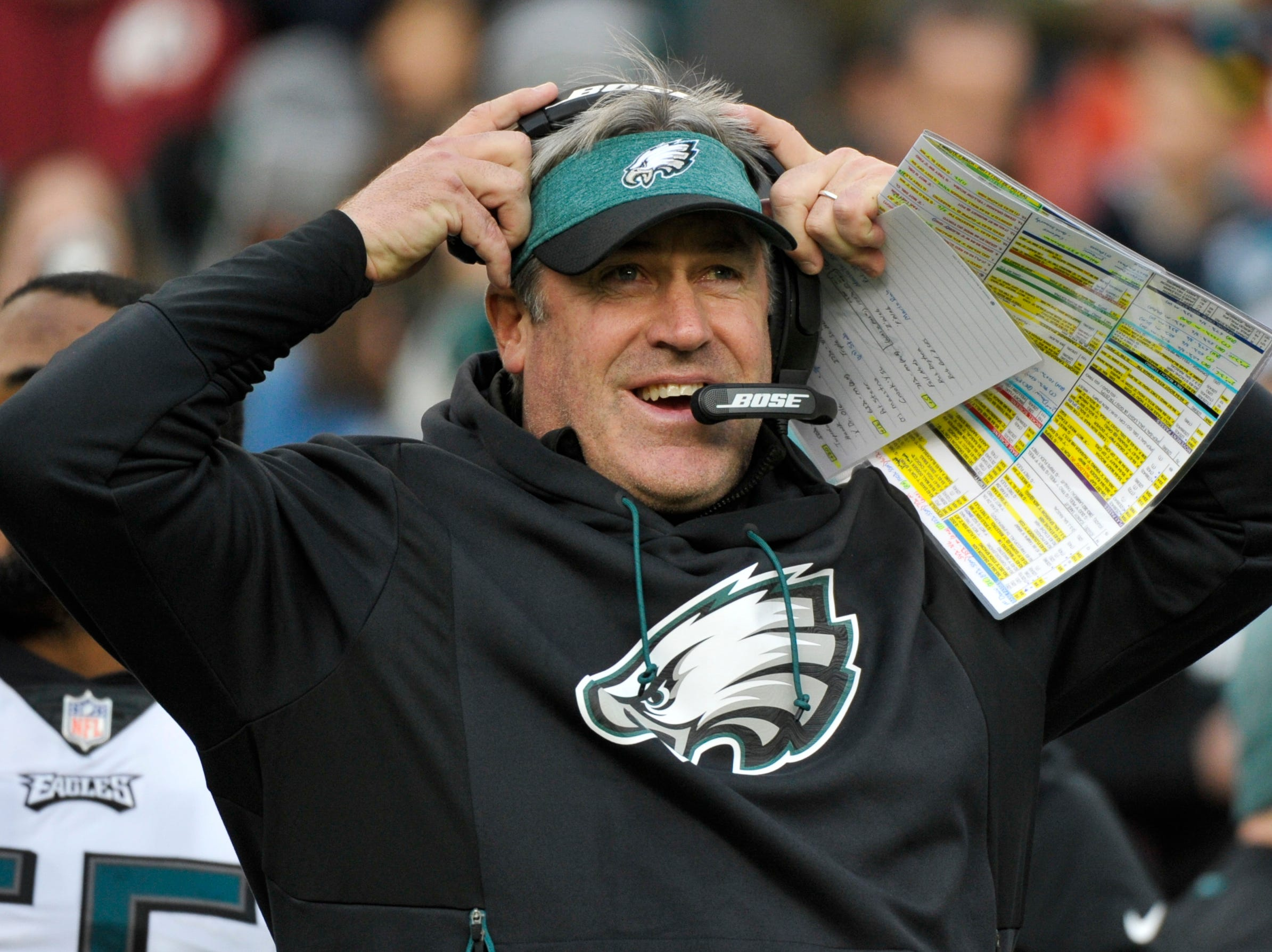 Philadelphia Eagles head coach Doug Pederson adjusts his headset during the first half of the NFL football game between the Washington Redskins and the Philadelphia Eagles, Sunday, Dec. 30, 2018 in Landover, Md. (AP Photo/Mark Tenally)