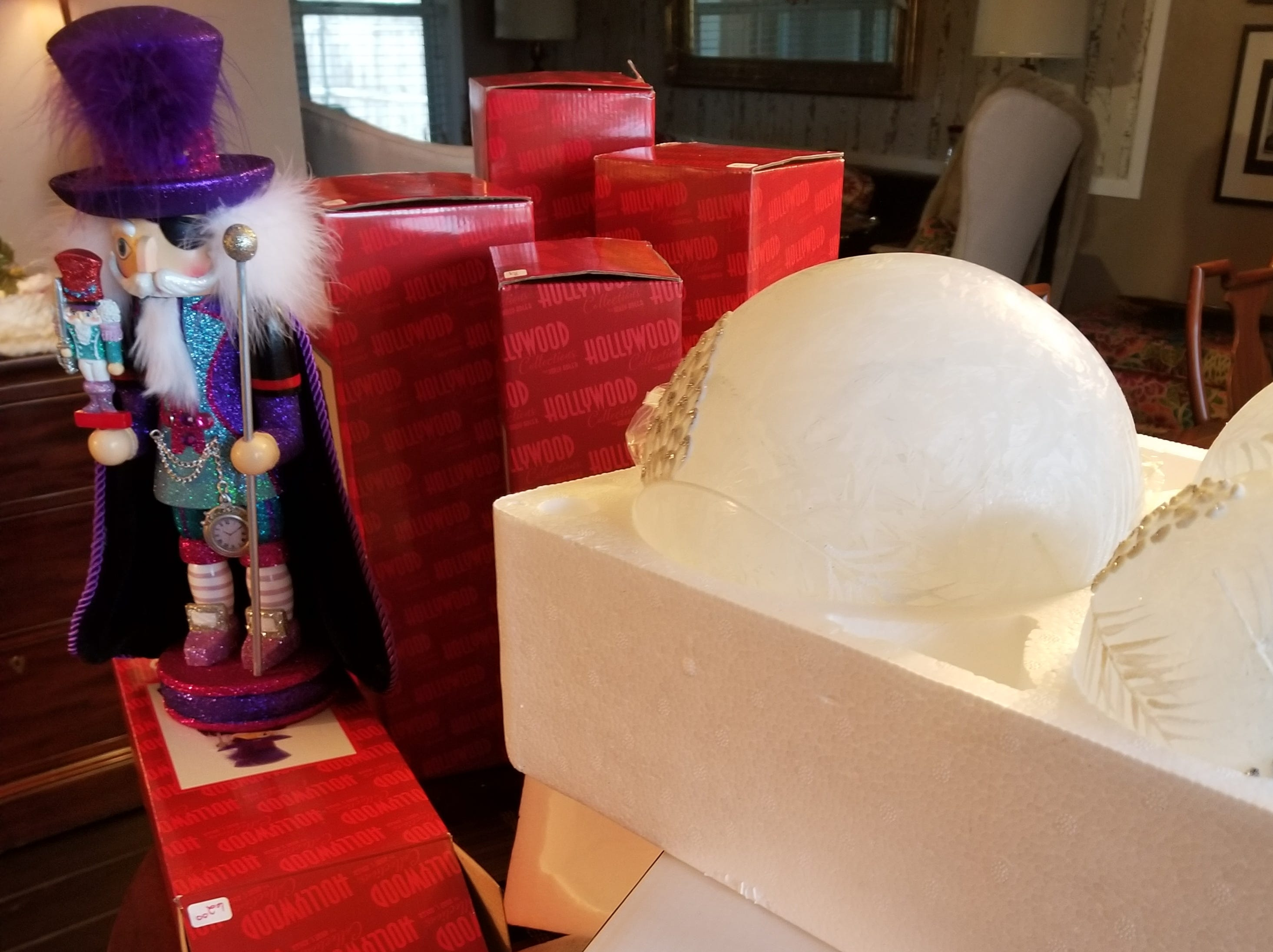 Larger items such as nutcrackers and reindeer, if you have the storage room, are best stored in their original boxes with the packing material they were wrapped in.  If this is not possible, invest in some bubble wrap, available at your local office supply or moving company.  Wrap your items securely in the bubble wrap and tape closed.
