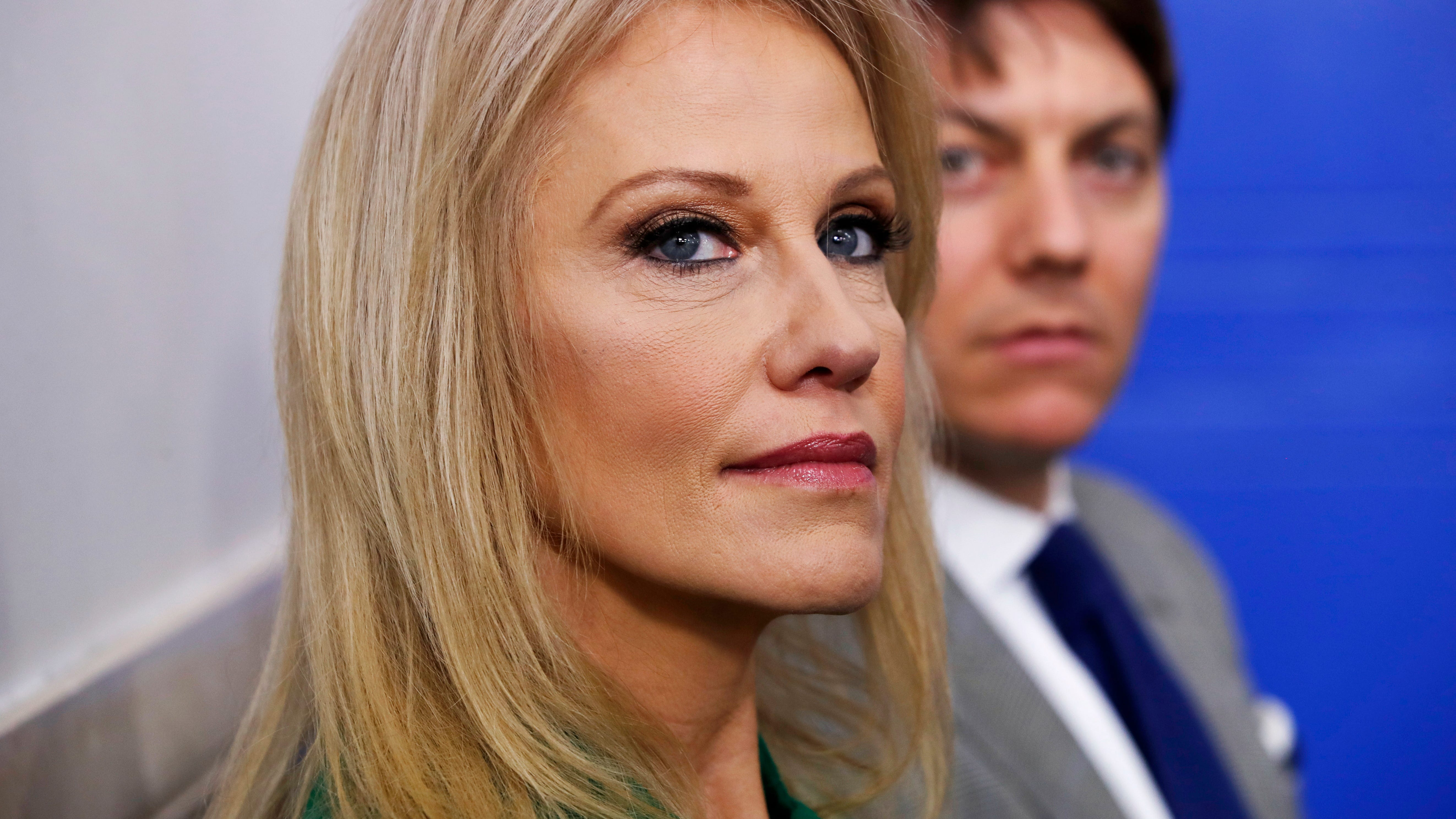 Kellyanne Conway, counselor to the President, left, and White House Deputy Press Secretary Hogan Gidley attend a news briefing at the White House in Washington, Dec. 18, 2018.