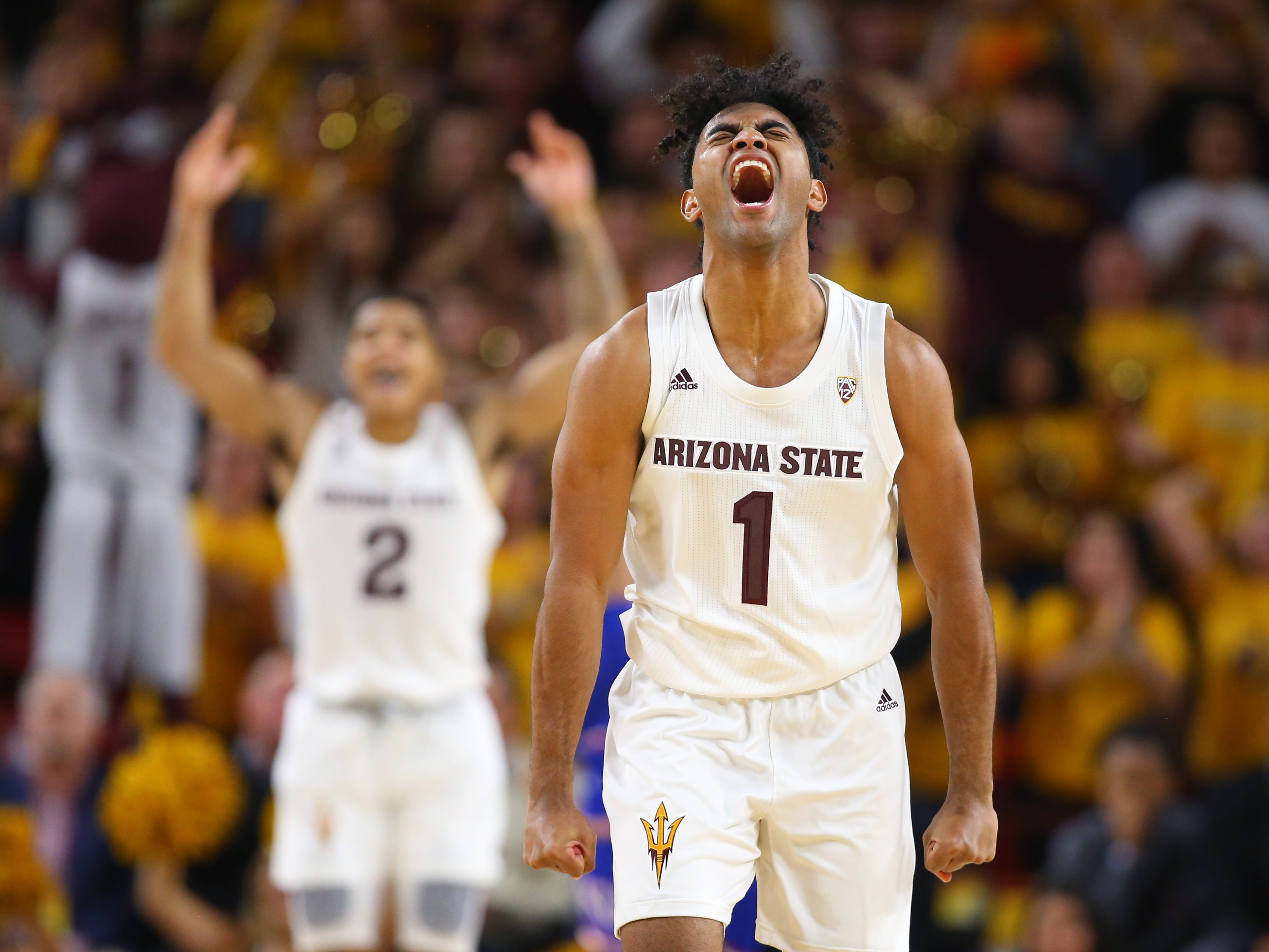 Dec. 22: Arizona State Sun Devils guard Remy Martin (1) celebrates in the second half of a win against the No. 1 Kansas Jayhawks.