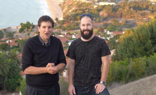 Jefferson Graham and photographer Brian Hawkins in Palos Verdes Estates, about to embark on time-lapse photography