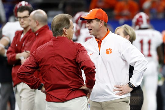 Alabama Crimson Tide head coach Nick Saban and Clemson Tigers head coach Dabo Swinney.