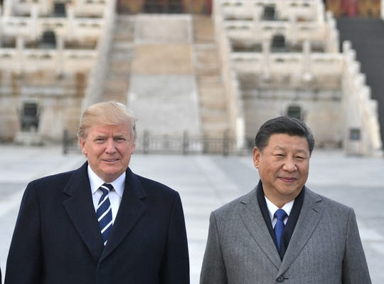 Presidents Donald Trump and Xi Jinping in Beijing on Nov. 8, 2017.