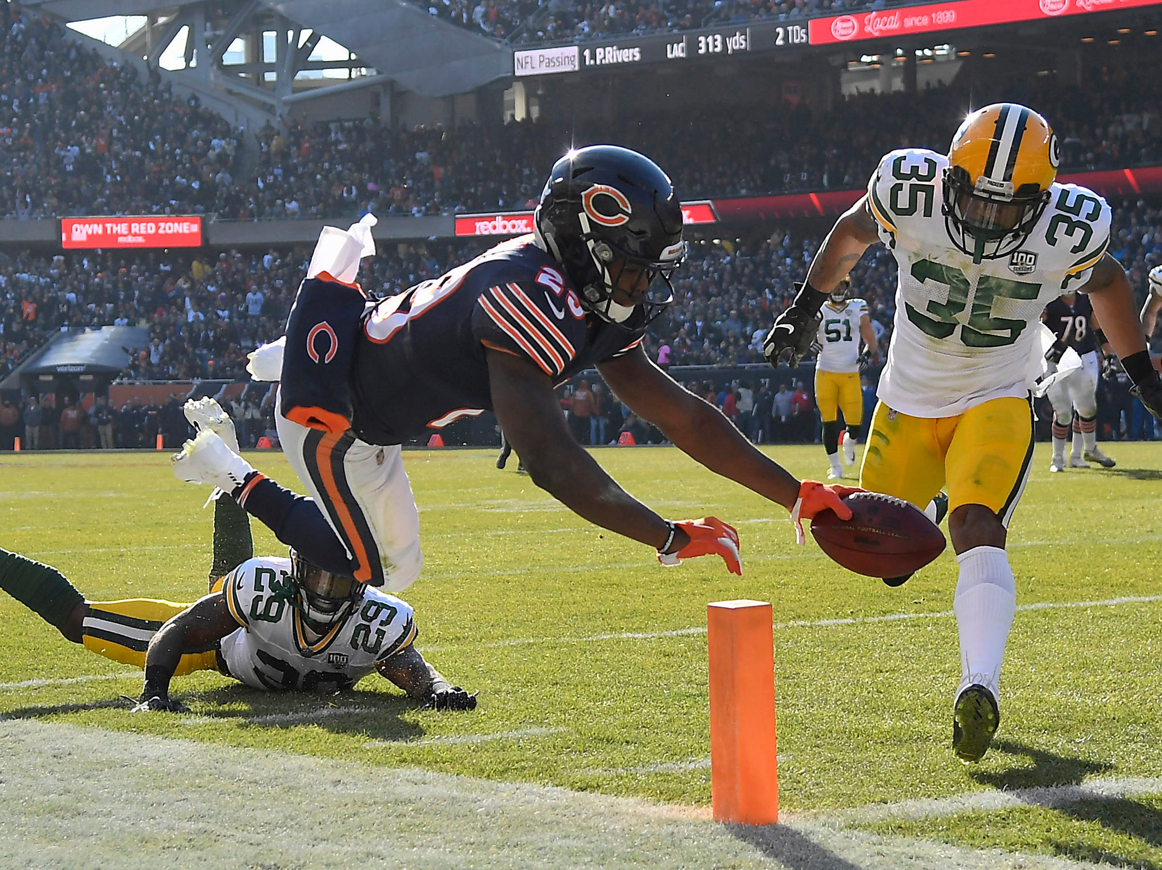 Dec. 16: Chicago Bears running back Tarik Cohen (29) scores a touchdown against the Green Bay Packers at Soldier Field.