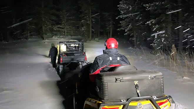 Volunteers from Mesilla Valley Search and Rescue in Las Cruces, New Mexico, braved blizzard conditions the night of Dec. 27, 2018, to look for Cutter Rogers, 36, of Carlsbad, New Mexico, and his three children who went elk hunting Christmas Eve in the Sacramento Mountains of Lincoln National Forest about 25 miles east of Alamogordo, New Mexico, but had not been heard from since. The family was found, stranded in their pickup truck, around noon the next day.