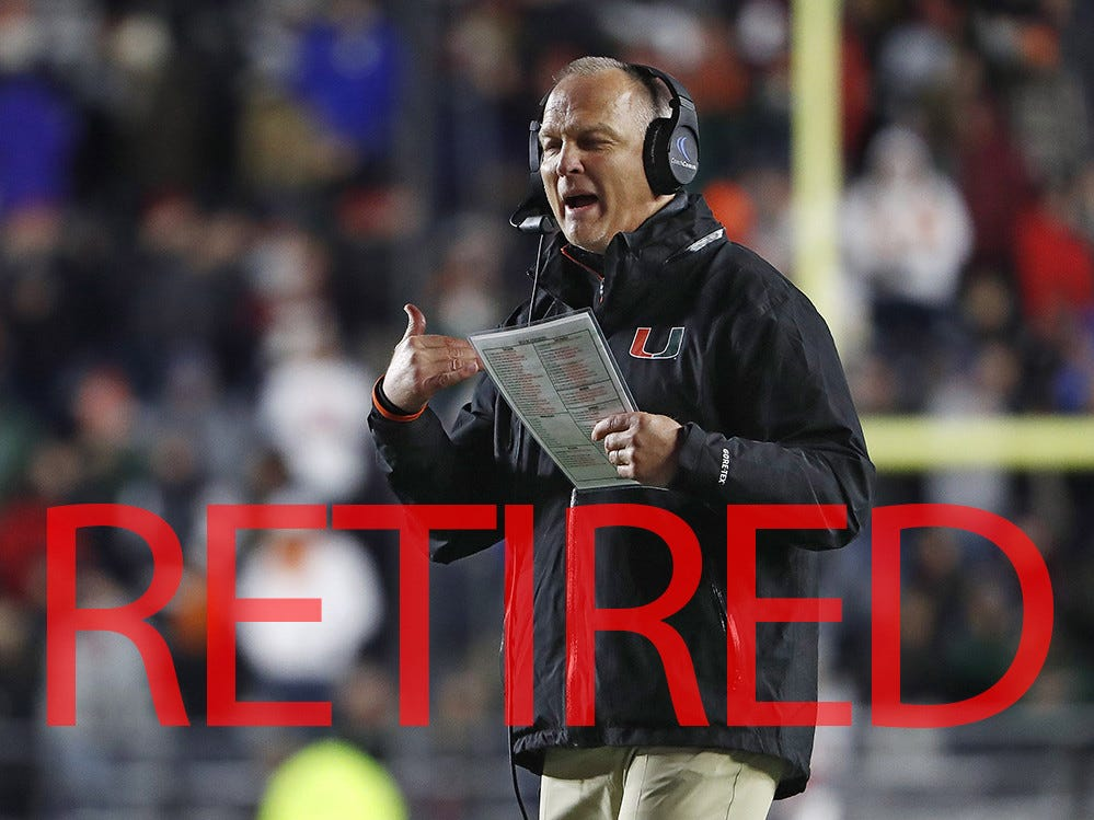 Mark Richt announced his retirement after three seasons at Miami. He had gone 26-13 at his alma mater following a 15-year tenure at Georgia.
