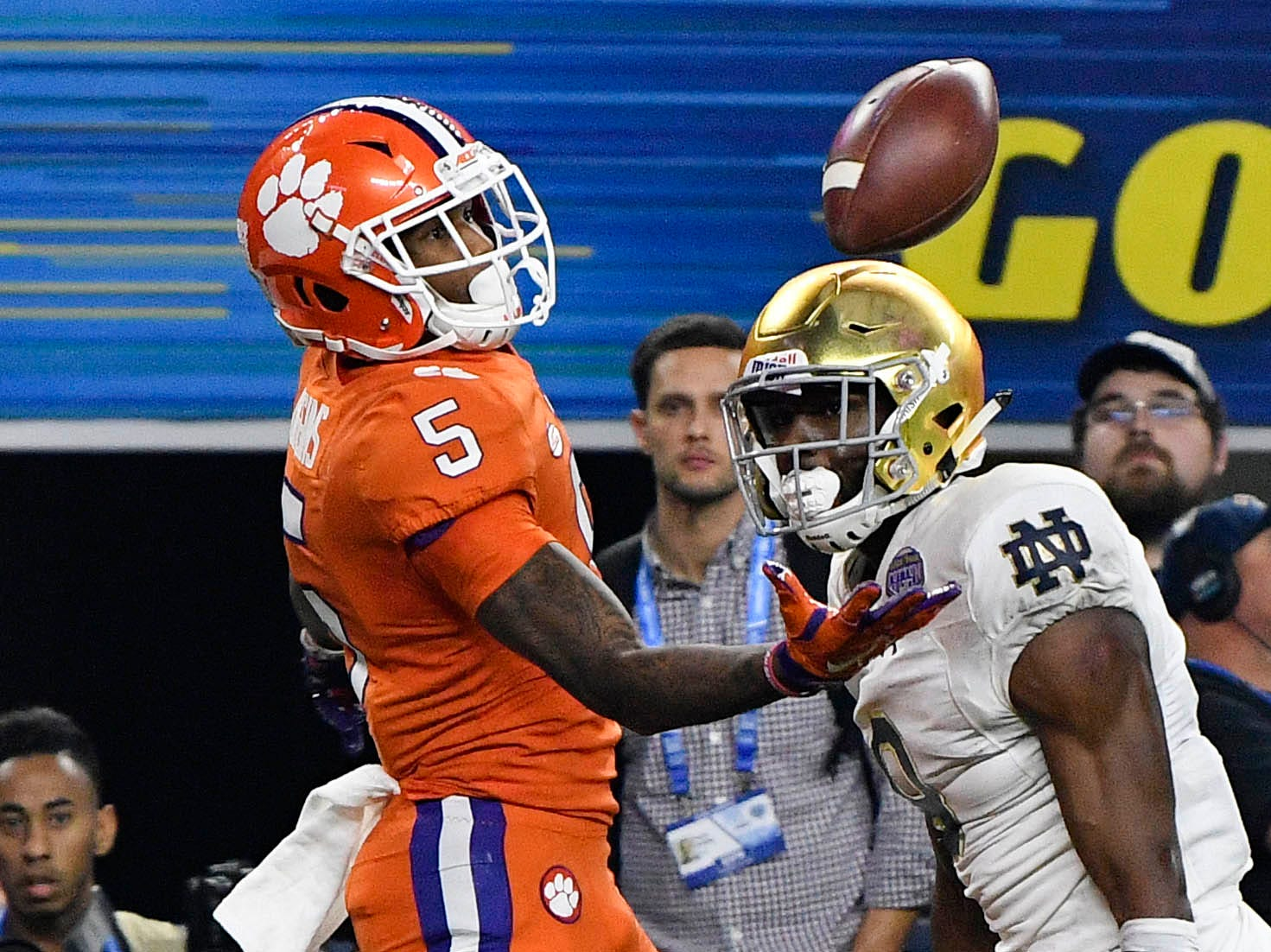 Dec. 29: Clemson Tigers wide receiver Tee Higgins (5) makes a catch for a touchdown ahead of Notre Dame Fighting Irish cornerback Donte Vaughn (8) during the second quarter of the Cotton Bowl.