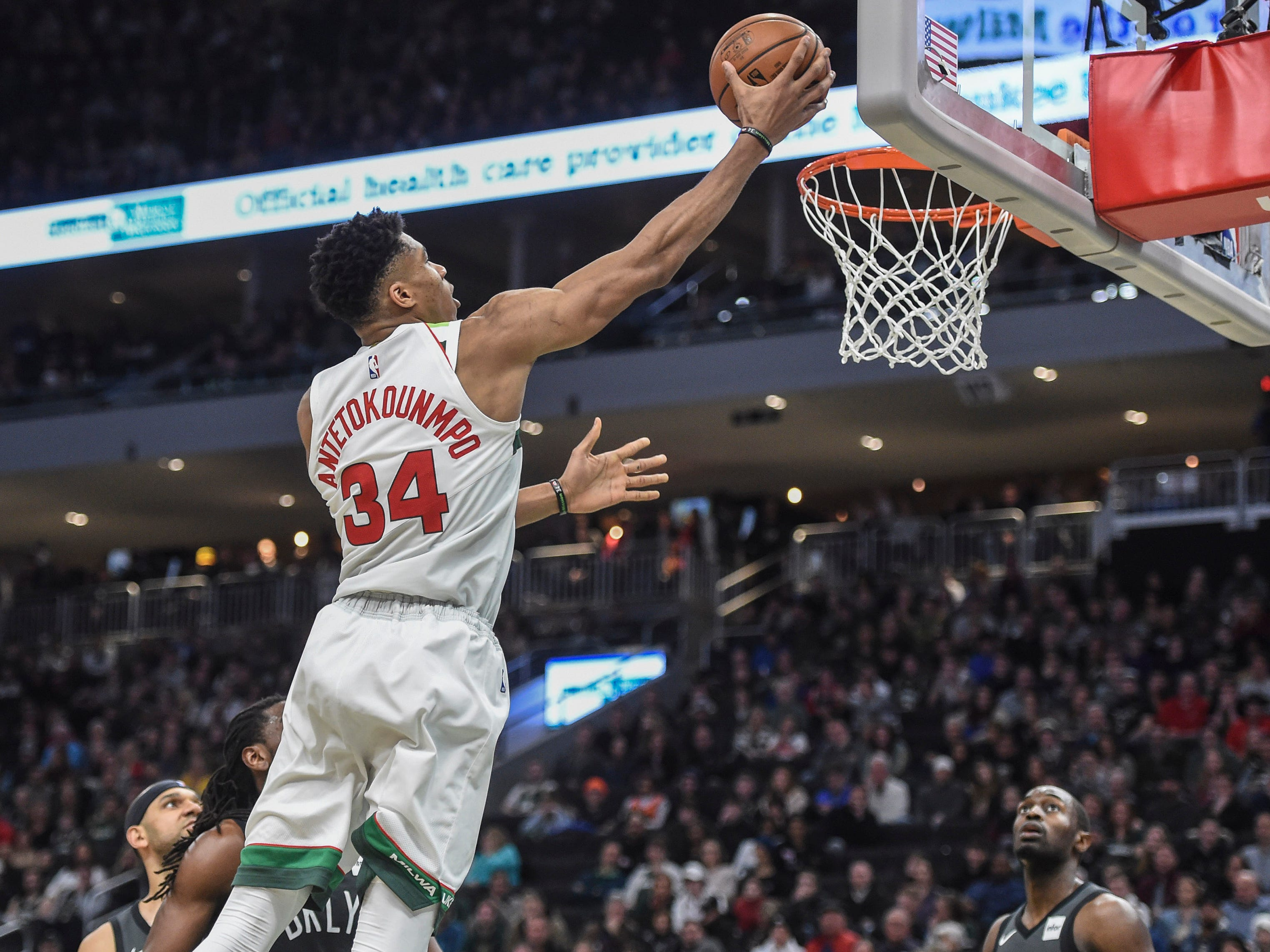 37. Giannis Antetokounmpo, Bucks (Dec. 29): 31 points, 10 rebounds, 10 assists in 129-115 win over Nets (third of season).