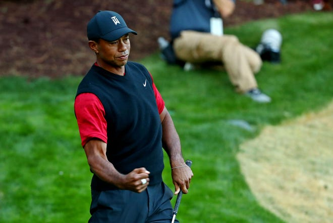 Tiger Woods reacts to chipping in for birdie on the 17th hole during The Match: Tiger vs Phil at Shadow Creek Golf Course.