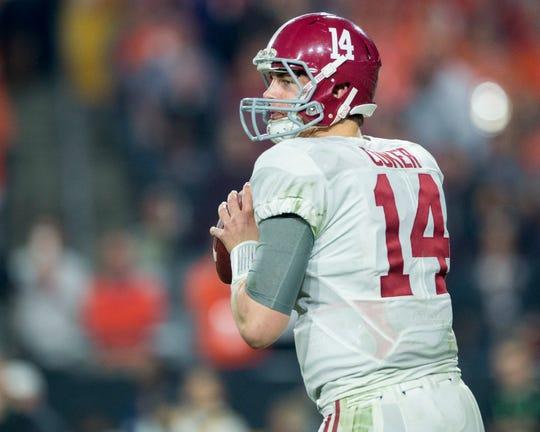 Alabama quarterback Jake Coker (14) in the College Football Playoff Championship Game on Monday January 11, 2016 at University of Phoenix Stadium in Glendale, Az. (Mickey Welsh / Montgomery Advertiser)