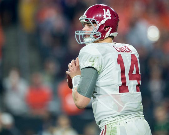 Alabama quarterback Jake Coker (14) in the College Football Playoff Championship Game on Monday January 11, 2016 at University of Phoenix Stadium in Glendale, Az. (Mickey Welsh / Montgomery Advertiser)