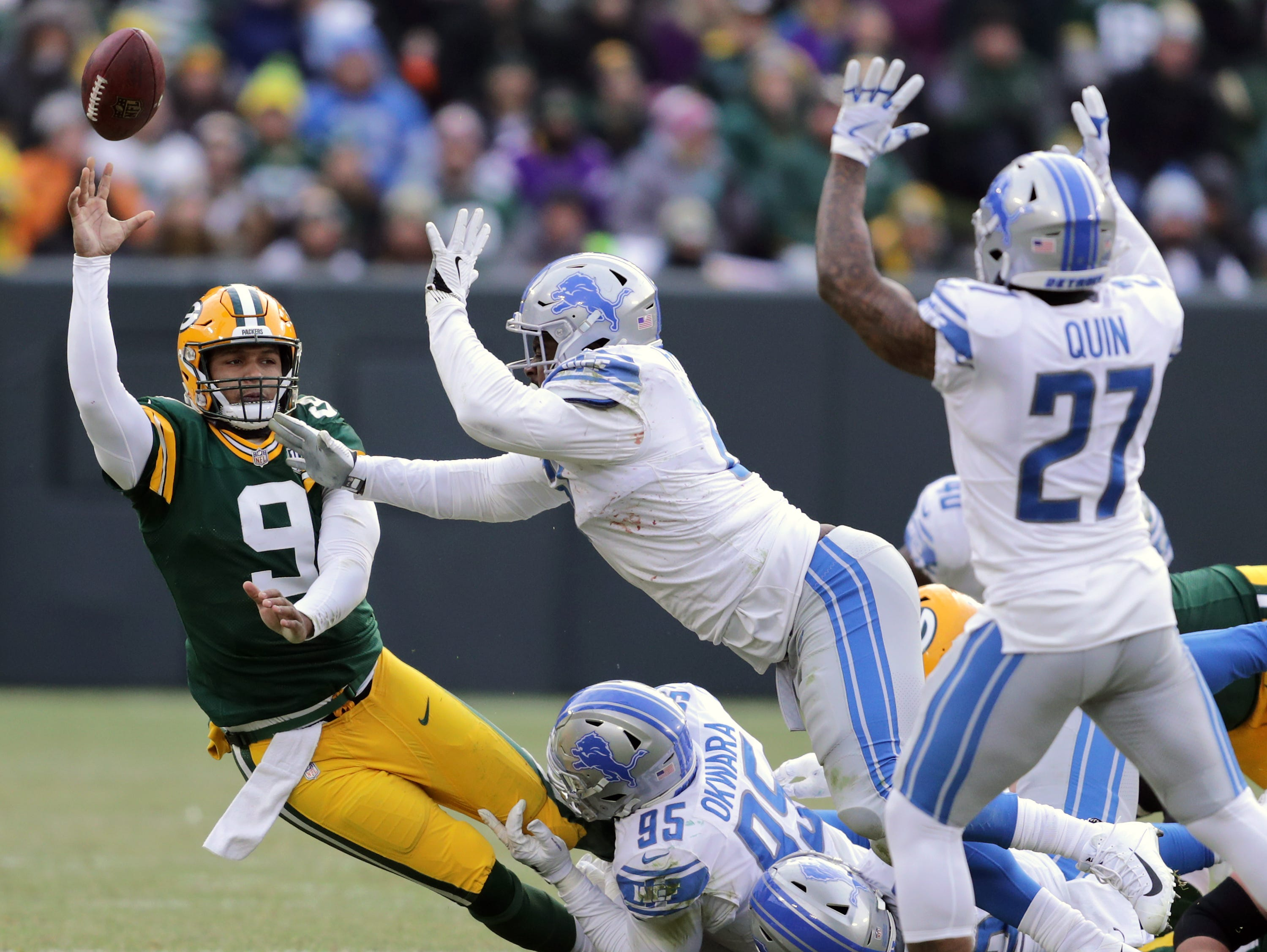 Green Bay Packers quarterback DeShone Kizer throws a fourth quarter interception against the Detroit Lions during their football game on Sunday, December 30, 2018, at Lambeau Field in Green Bay, Wis. Detroit defeated Green Bay 31 to 0.