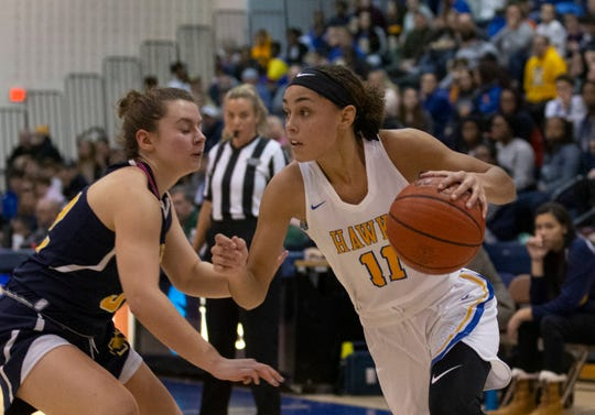 Manchester's Leilani Correa drives to the basket during first half action.  2018 WOBM Christmas Classic Girls and Boys Basketball Finals in Toms River on December 30, 2018.