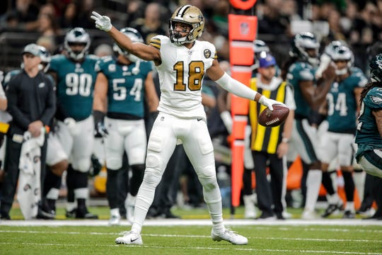 New Orleans Saints wide receiver Keith Kirkwood (18) celebrates after a first down against the Philadelphia Eagles during the first quarter at the Mercedes-Benz Superdome.
