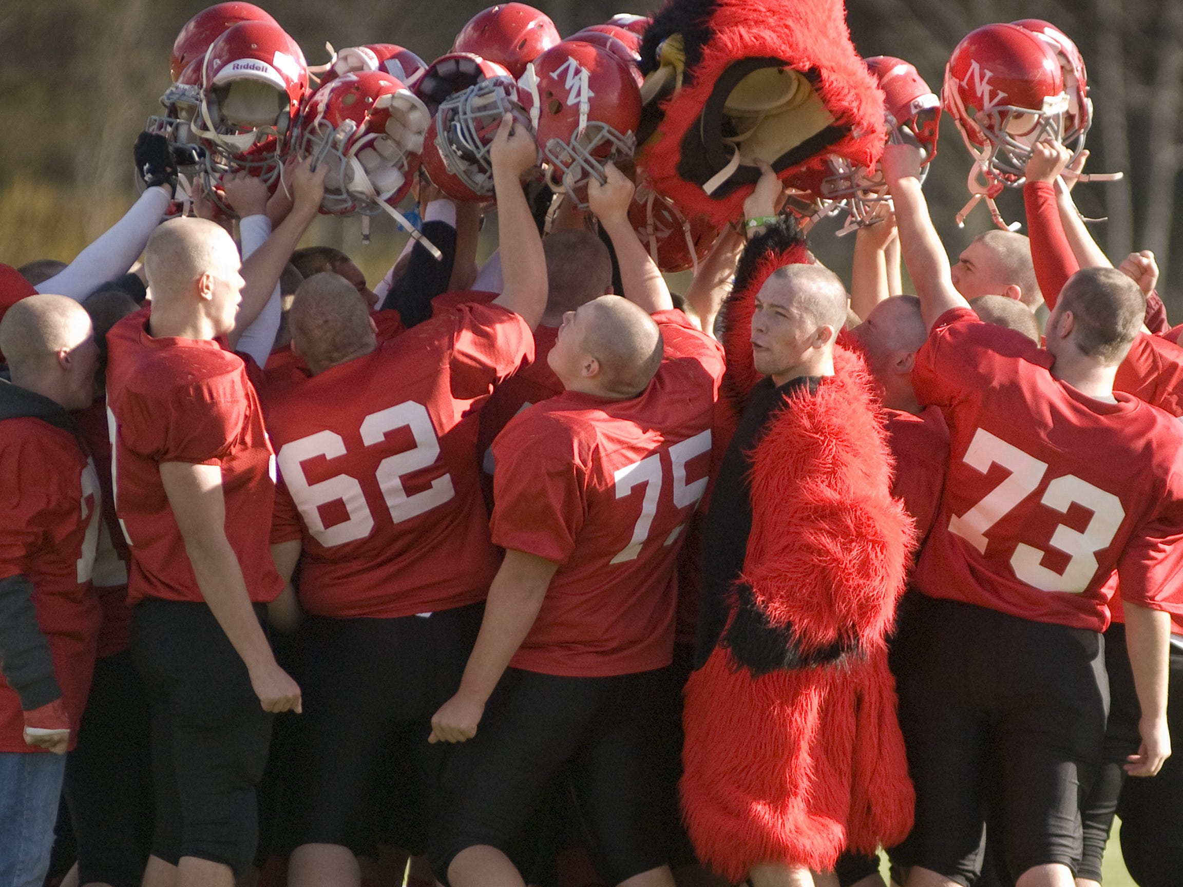 From 2010: Newark Valley, including their Cardinal mascot, celebrates their win against Trumansburg.