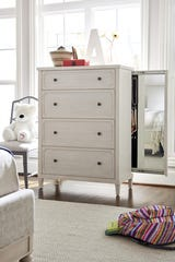 Serendipity chest with slide out mirror and jewelry storage.