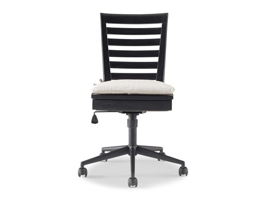 The desk chair has a lift seat with storage beneath and a removable seat cushion.
