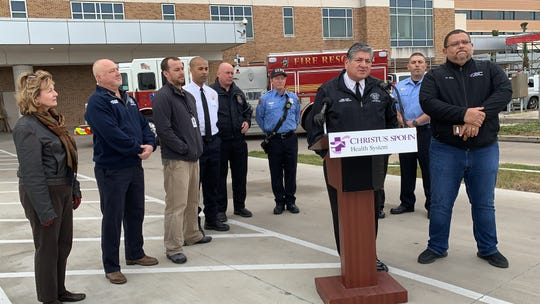 Corpus Christi Fire Chief Robert Rocha speaks during a New Year's Eve safety conference held by the Corpus Christi Fire Department and Christus Spohn.