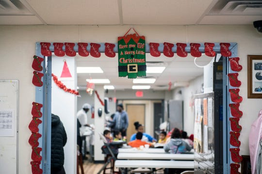 The Anna Sample family shelter bustles with diners Friday, Dec. 28, 2018 in Camden, N.J.