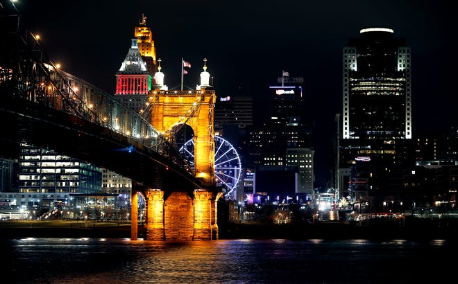 The downtown Cincinnati skyline and the Roebling Suspension Bridge make for a beautiful scene. Photo shot Friday December 28, 2018.