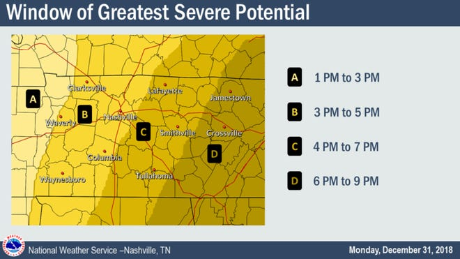 The National Weather Service issued a tornado watch for Montgomery County on Monday, December 31 until 7 pm.