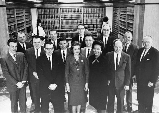 Willie Stevenson Glanton (front row, third from the right) was the first African-American woman in the Iowa Legislature.