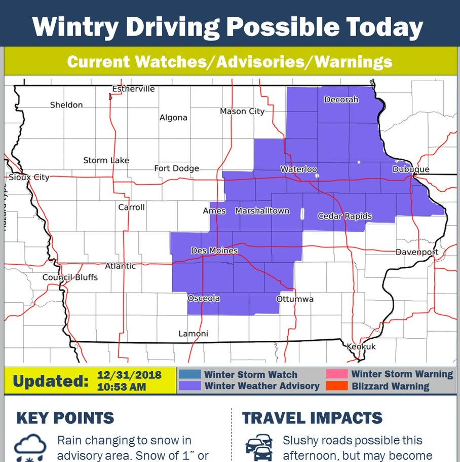 Freezing drizzle on New Year's Eve could cause slick driving conditions in Iowa