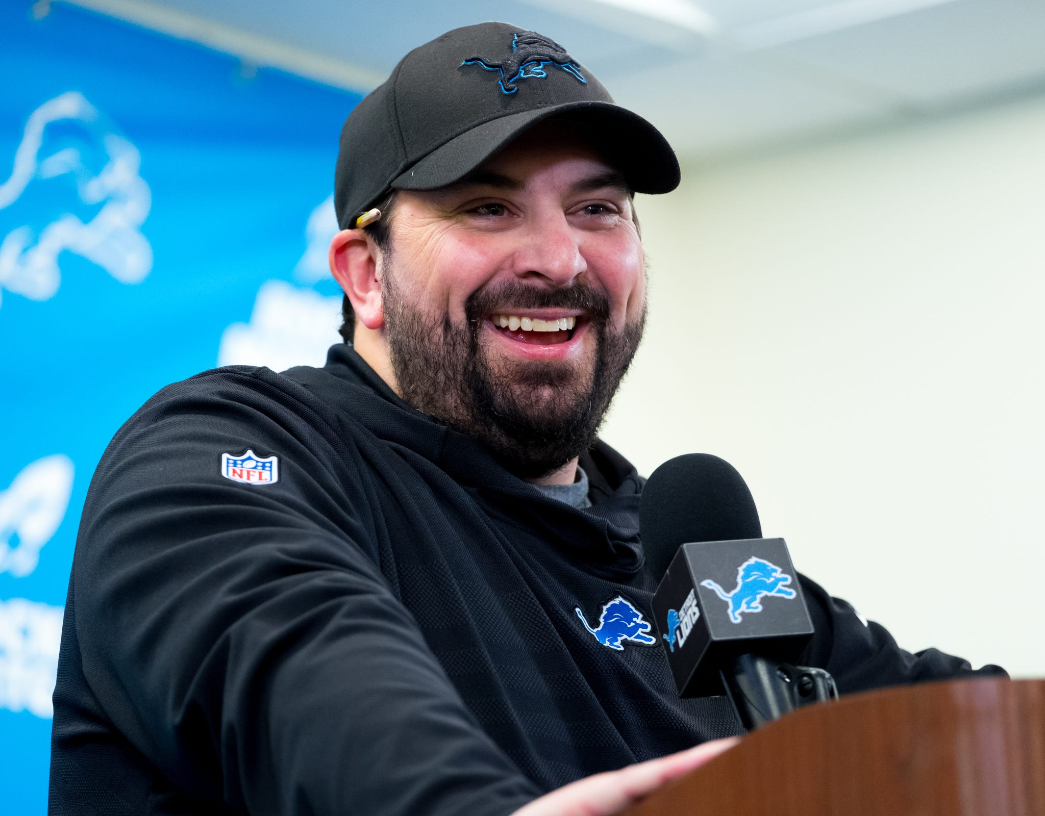 Detroit Lions head coach Matt Patricia speaks during a news conference in Allen Park on Monday, Dec. 31, 2018.