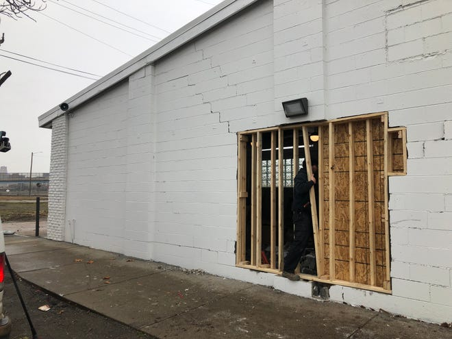 A vehicle drove into the back wall of the recently opened BotanicQ dispensary, co owned by Richard and Anqunette Jamison Sarfoh, on the corner of Rosa Parks Boulevard and Pine Street in North Corktown.