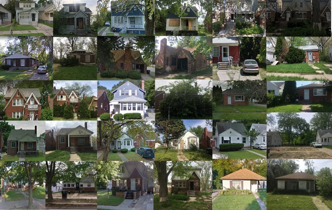 Properties in Detroit photographed in 2011 and then again in 2018.
