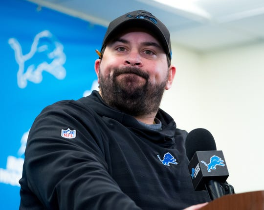 Lions coach Matt Patricia speaks during a news conference in Allen Park on Monday, Dec. 31, 2018.