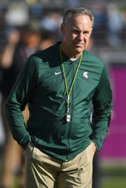 Michigan State coach Mark Dantonio looks on while his team warms up before the Redbox Bowl against Oregon on Monday, Dec. 31, 2018, in Santa Clara, Calif.