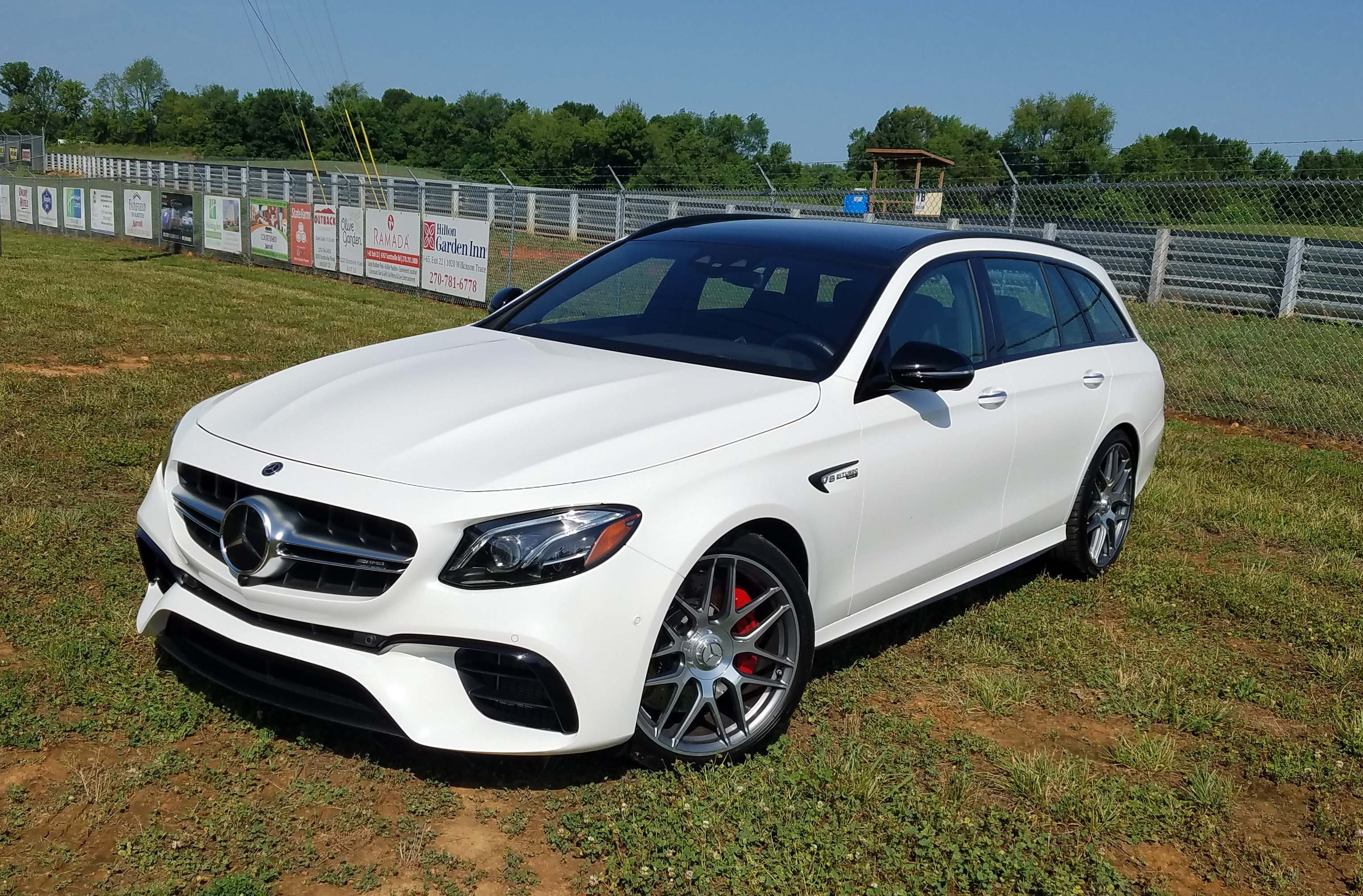 Unlike the dramatic Jaguar Sportbrake, the Mercedes-AMG E63 S wagon looks relatively civilized -but for its huge front air scoops and the rumble of its V-8 engine.