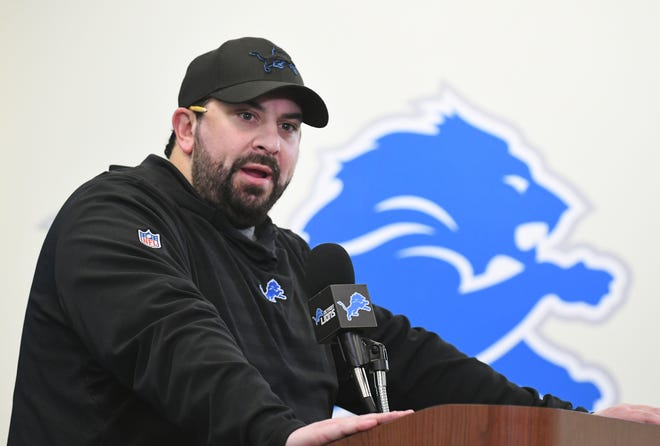 Detroit Lions coach Matt Patricia speaks at his end-of-year news conference on Monday.