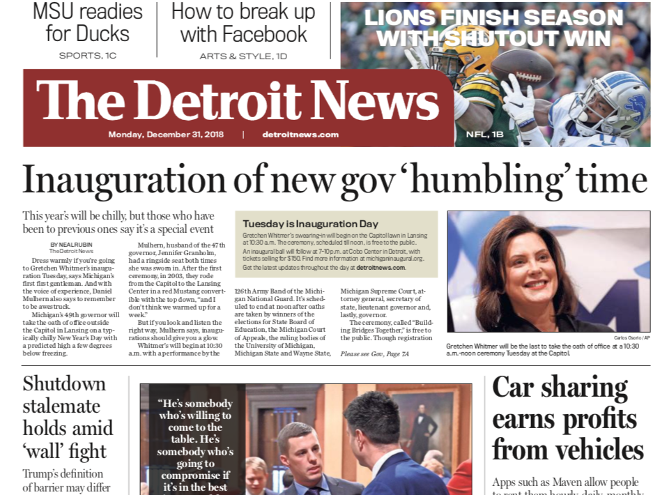 The front page of The Detroit News on Monday, December 31, 2018