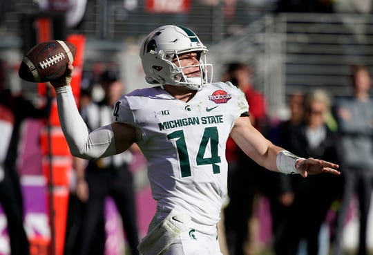 Michigan State quarterback Brian Lewerke was 184-for-339 for 2,094 yards, including eight touchdowns and 11 interceptions last season.