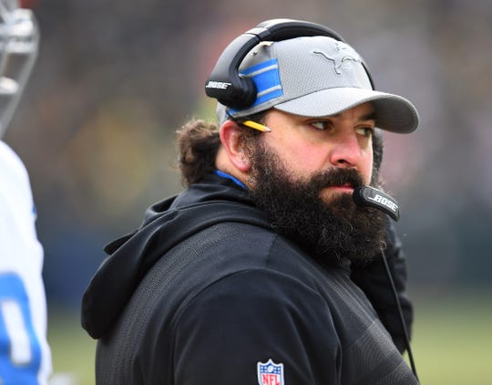 Matt Patricia watches from the sideline during the second half of the Lions' win at Green Bay on Sunday.