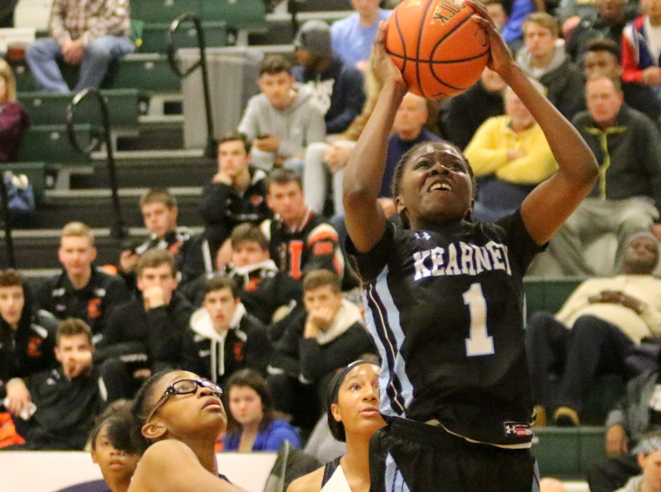 Lytoya Baker of Bishop Kearney goes up for a shot against Cardinal O'Hara in the girls championship game at the Josh Palmer Fund Elmira Holiday Inn Classic on Dec. 30, 2018 at Elmira High School.