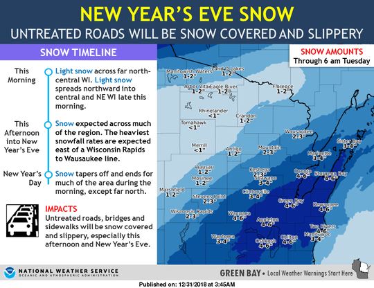 The National Weather Service's Green Bay office predicts snowfall totals for a Monday snowstorm.