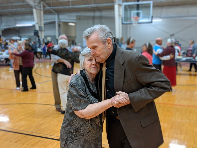 Jean and husband Wayne DeMoss celebrate their 52 years of marriage and the start of 2019 with a dance at the Noon Year's Eve celebration Monday at the Sandusky County YMCA.