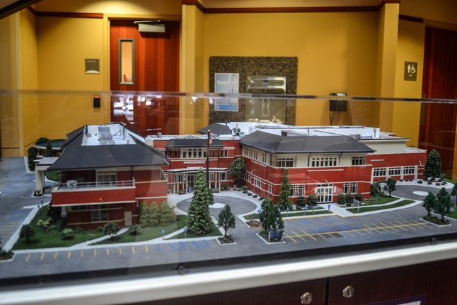 The hospital model, kept behind glass to protect it from curious visitors, is on display in main lobby.