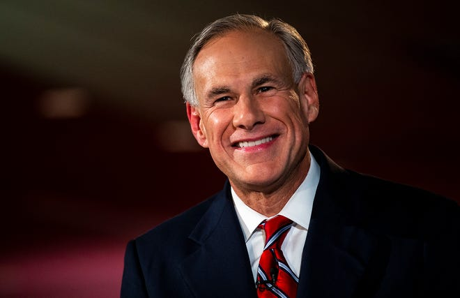 In this Sept. 28, 2018 file photo, Texas Governor Greg Abbott smiles before a gubernatorial debate against his Democratic challenger Lupe Valdez at the LBJ Library in Austin, Texas.  Decisions about health care and education will top the agenda in many state capitols as lawmakers convene in new sessions in 2019.  Abbott and the Republican-controlled Legislature will be wrestling with whether to tap as much as $5 billion from the state's rainy-day fund to pay for the recovery from Hurricane Harvey, which swamped the southeast portion of the state in August 2017.