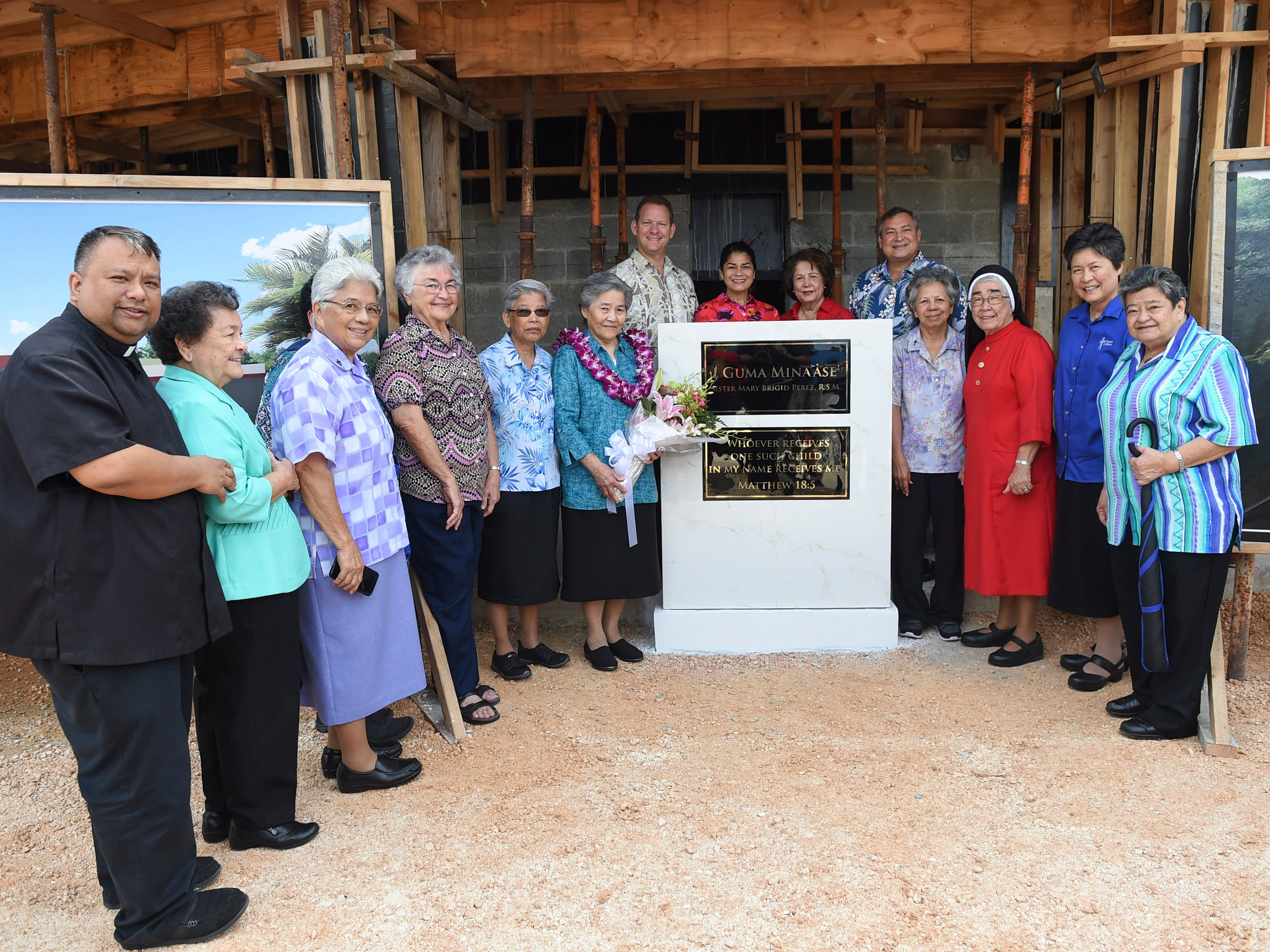 A ceremony recognizing the redesignation of the former Rigålu House to I Guma Mina'åse' Sister Mary Brigid Perez, R.S.M. is held in Barrigada on Dec. 31, 2018.