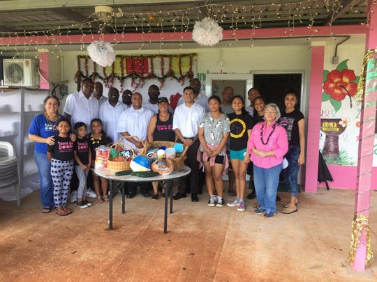 Marianas Travelers Lodge #49 delivered holiday food basket to community outreach program, Island Girl Power on December 22, 2018 for their village Christmas dinner.