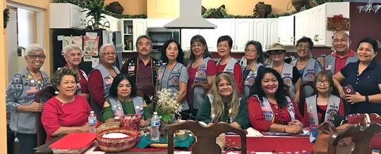 The Guam Sunshine Lions Club sang traditional Chamoru Christmas carols and presented a monetary donation and supplies to Ana Atalig, 89, of Yigo on December 22, 2018.  Seated from left: Lions Hwami Manglona, Connie Rivera, LouJean Borja, Lorraine Rivera, and Sid Weedin.  Standing from left: Lions Jovie Mejorada, Helen Mendiola, Helen Colby, Johnny Villagomez (Guam Tano-Ta), Linda Villagomez, Annie Artero, Marietta Camacho, Dot Leon Guerrero, Jill Pangelinan, Dee Cruz, and Pete Babauta. Benita Manglona, far right, received donation on behalf of her mother, Ana Atalig.